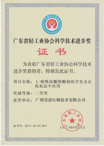 轻工业协会科学进步奖